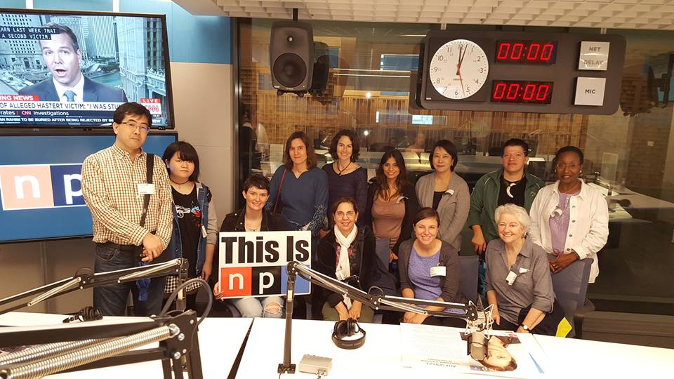 Students on a trip to NPR